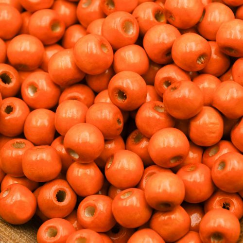 Wood   Beads 10mm, orange painted,  round 3mm hole   - 100 pieces -B3082