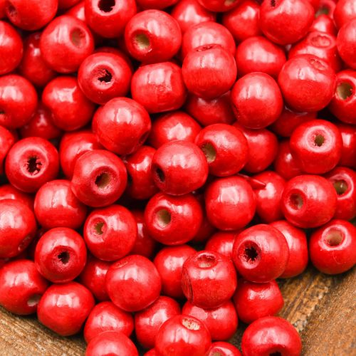 Wood   Beads 10mm, red painted,  round 3mm hole   - 100 pieces -B3080