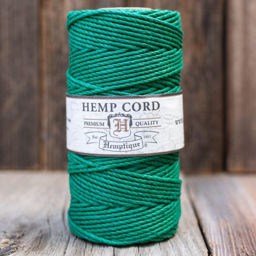 Green Hemp Macrame Cord,   2mm  Colored  Rope,  natural fiber, hemp jewelry supply -  1 Spool
